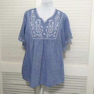 Tantrums Short Sleeve Chambray Embroidered Top